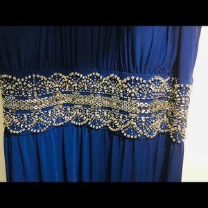 Formal long dress - Royal Blue beaded waste